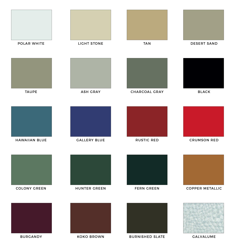 Color Chart Homer Metal Buildings